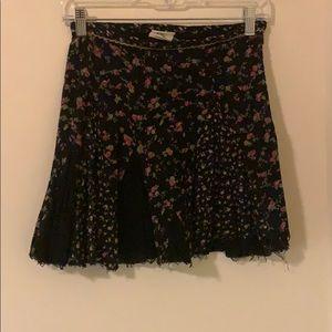 Free People Black Flower Skirt